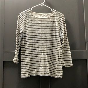 Black white stripe sequin top J Crew